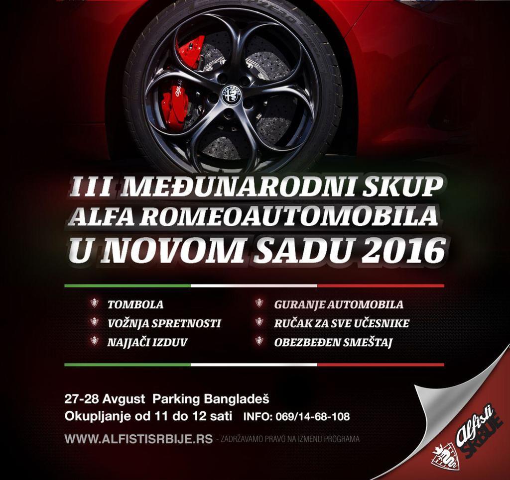 Dragi Alfiisti, 3 međunarodni skup u Novom Sadu će se održati na starom mestu,na parkingu BANGLADEŠ :-) datum skupa je 27 i 28 avgust sa početkom u 12 sati.
